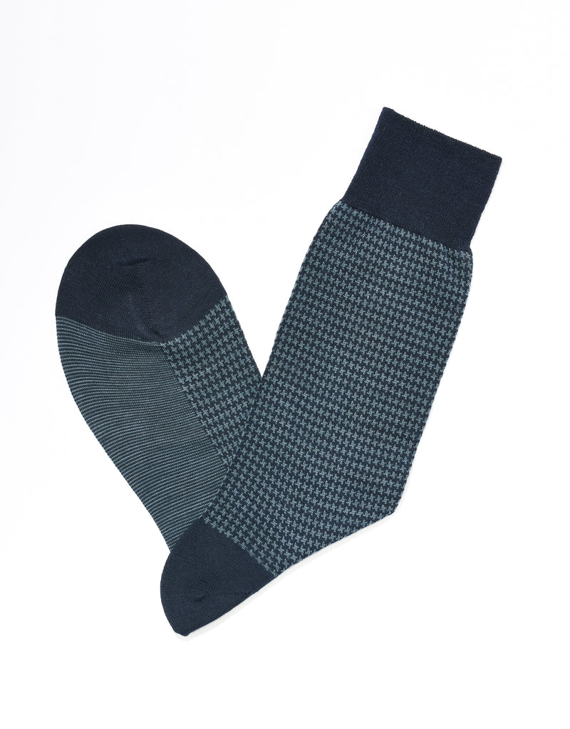 J. PRESS HOUNDSCHECK SOCKS - NAVY