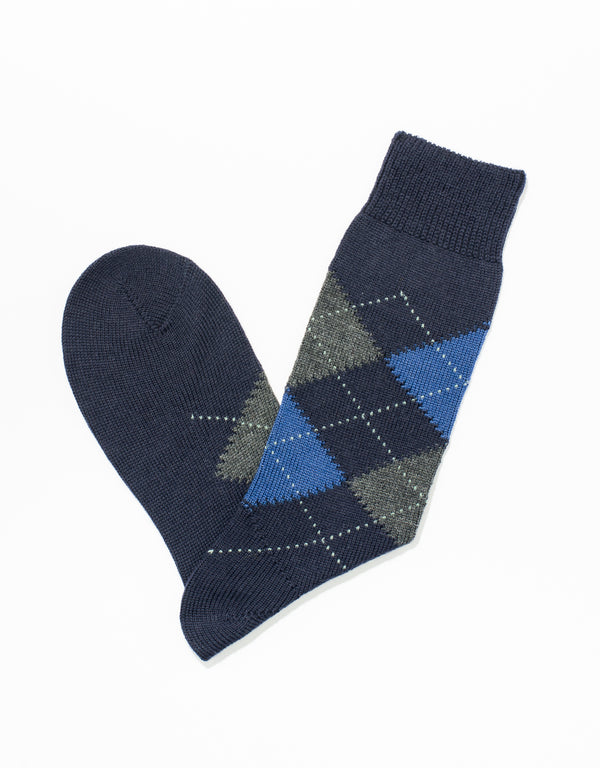 NAVY ARGYLE SOCKS