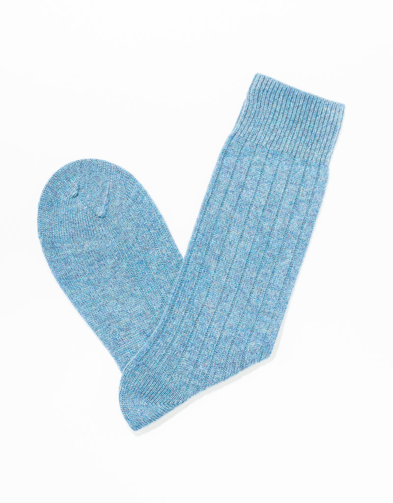 BLUE CASHMERE SOLID SOCKS