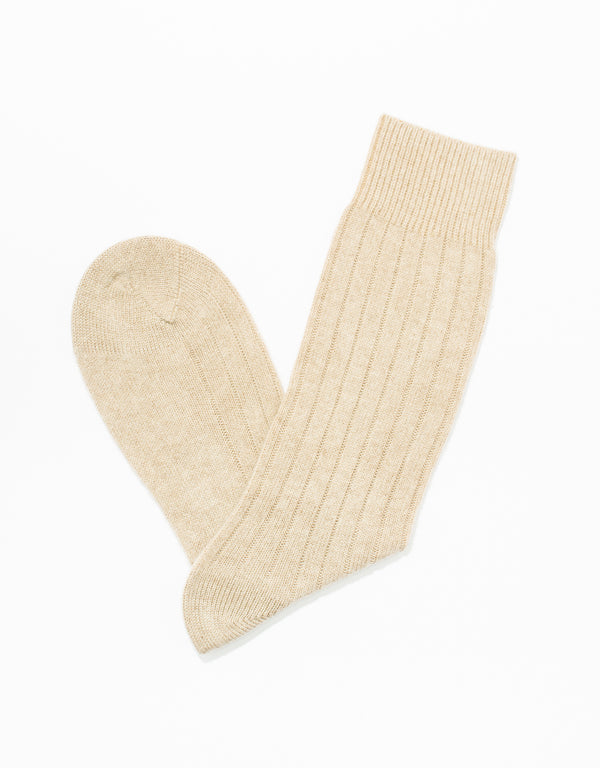 CASHMERE SOLID SOCKS - NATURAL