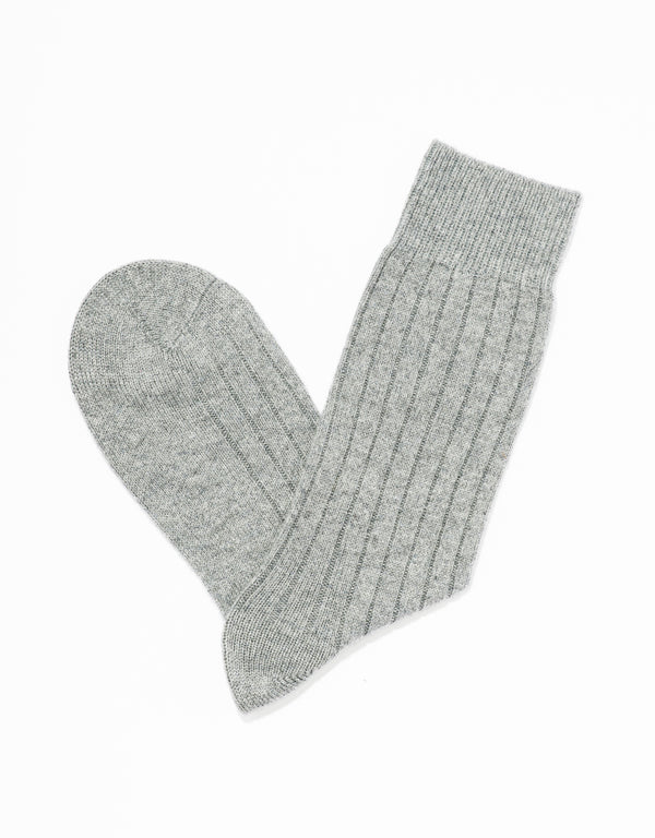 CASHMERE SOLID SOCKS - GREY