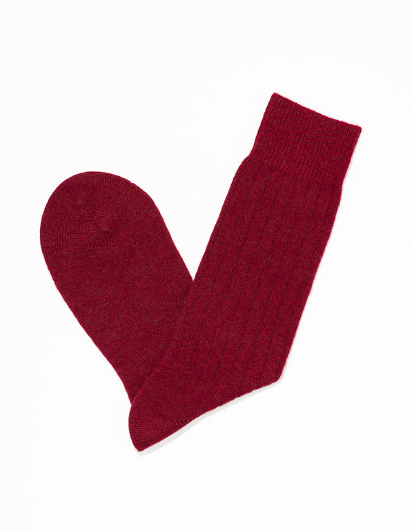 CASHMERE SOLID SOCKS - RED