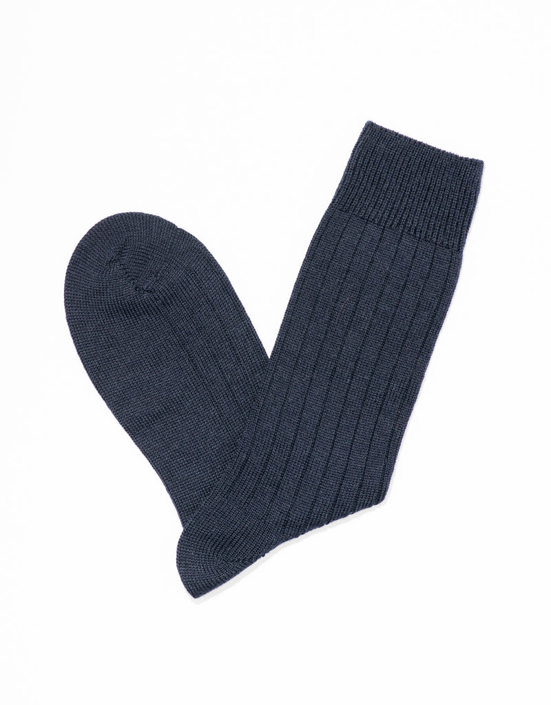 MERINO SOLID SOCKS - NAVY