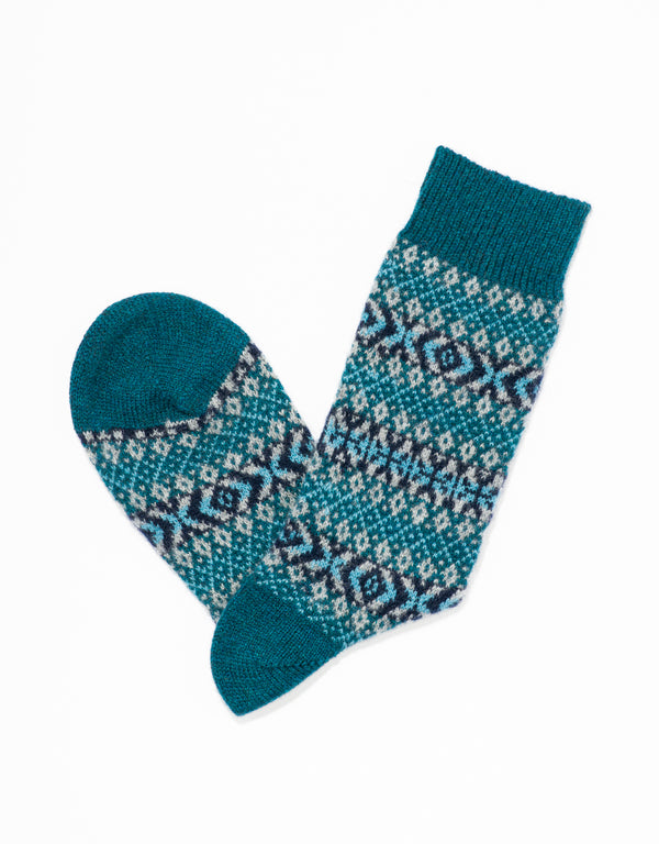 CASHMERE FAIR ISLE SOCKS - LIGHT BLUE
