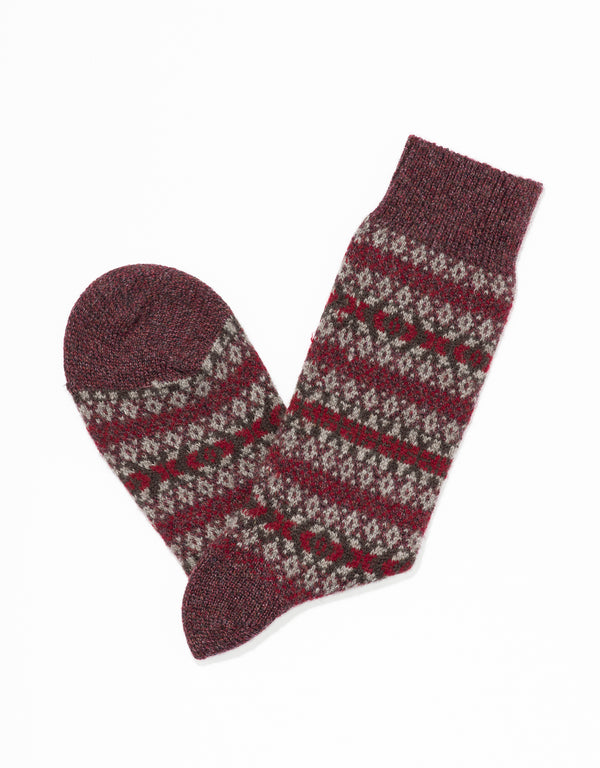 CASHMERE FAIR ISLE SOCKS - NATURAL