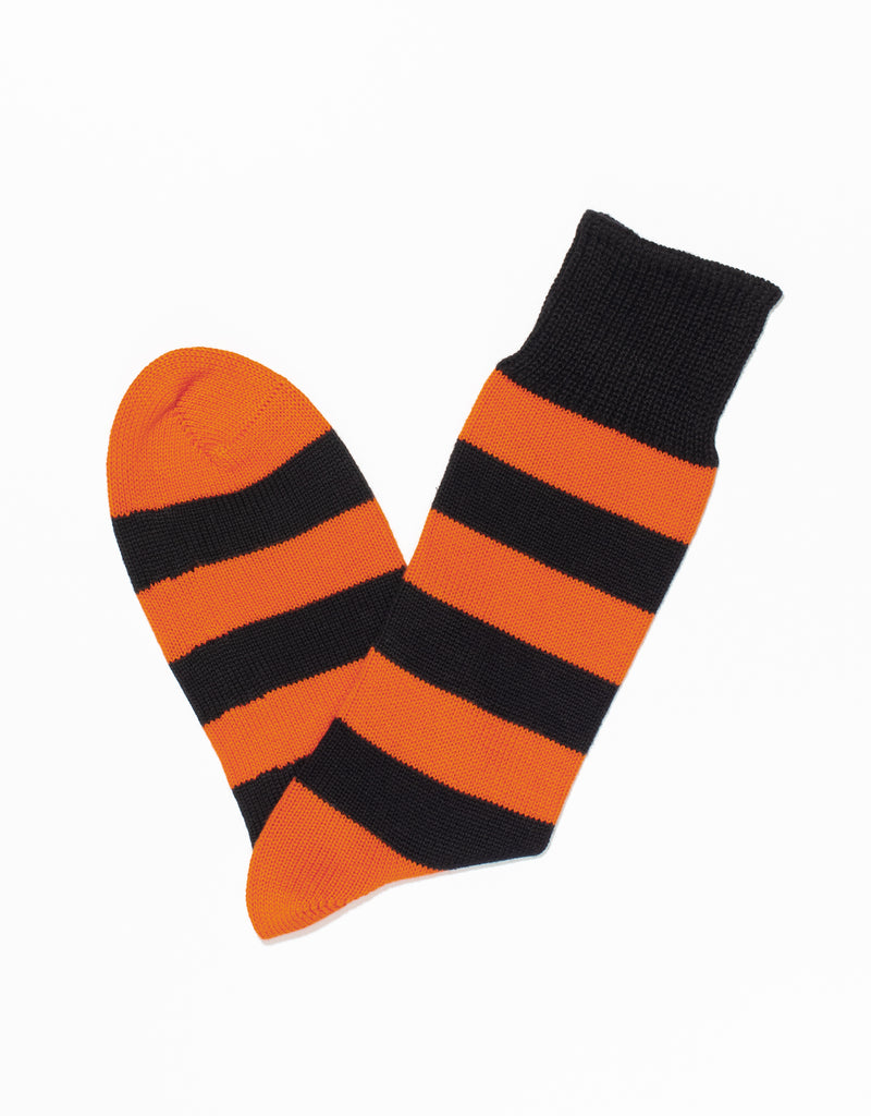 BLACK/ORANGE UNIVERSITY STRIPE SOCKS