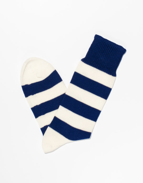 BLUE/WHITE UNIVERSITY STRIPE SOCKS