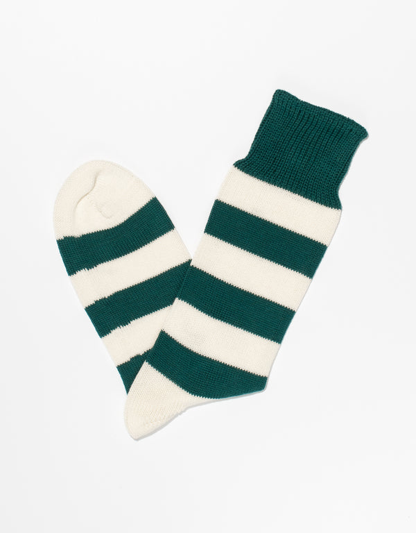GREEN/WHITE UNIVERSITY STRIPE SOCKS