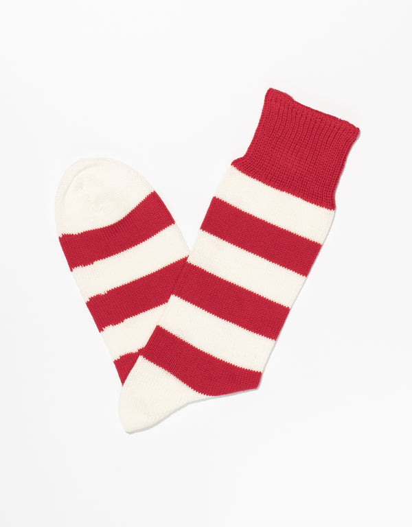 RED/WHITE UNIVERSITY STRIPE SOCKS