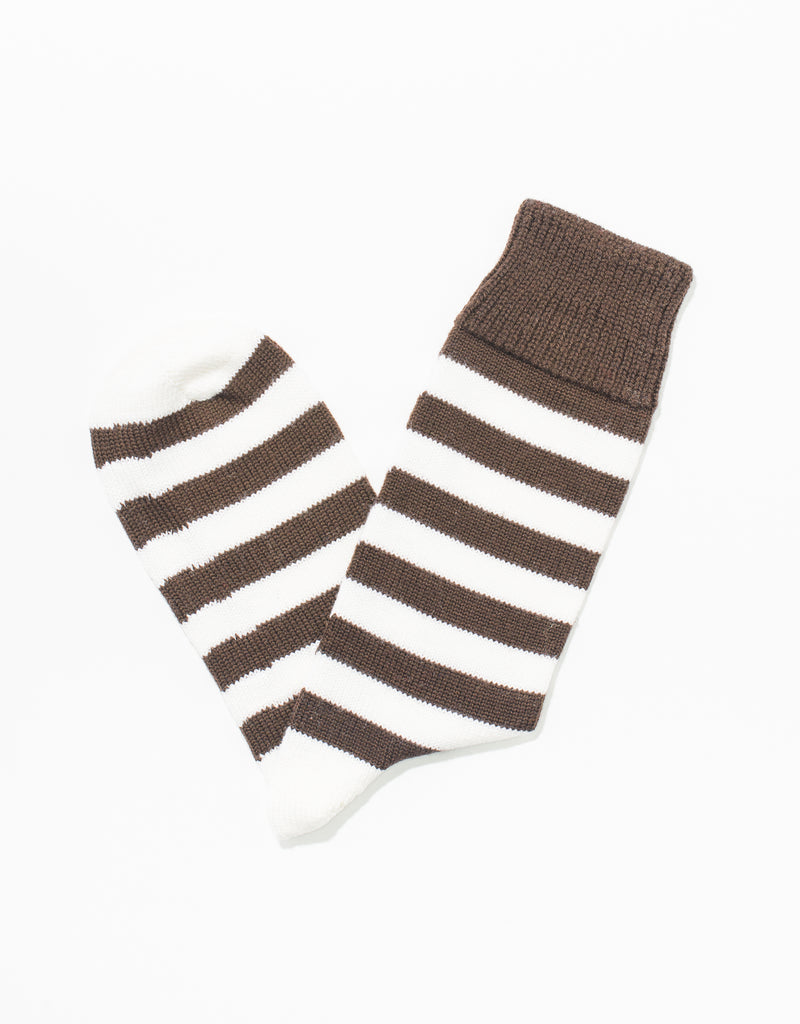 BROWN/WHITE UNIVERSITY STRIPE SOCKS