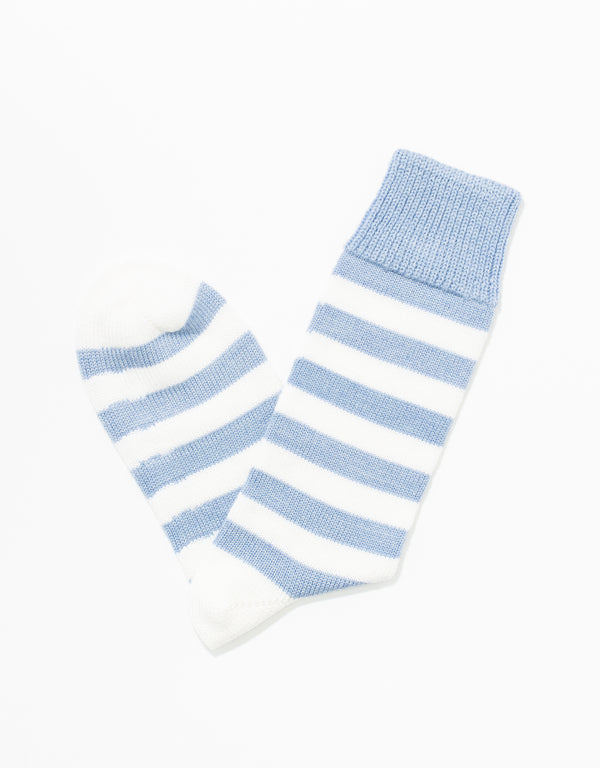LIGHT BLUE/WHITE UNIVERSITY STRIPE SOCKS