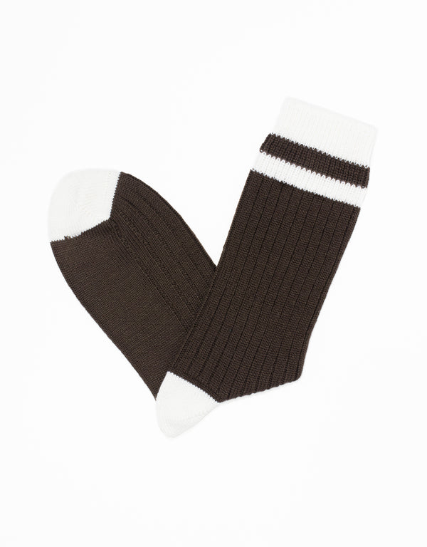 UNIVERSITY HEEL AND TOE STRIPE SOCKS - BROWN/WHITE