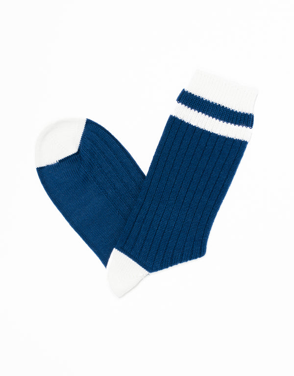UNIVERSITY HEEL AND TOE STRIPE SOCKS - BLUE/WHITE
