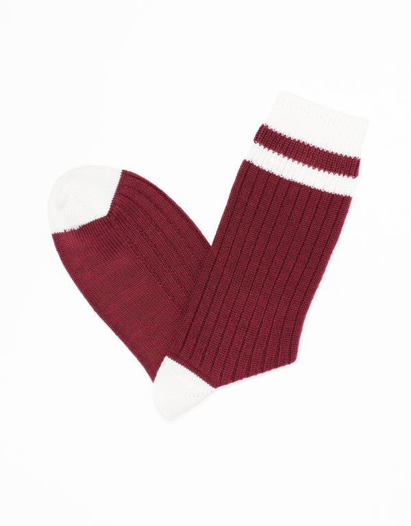 UNIVERSITY HEEL AND TOE STRIPE SOCKS - BURGUNDY/WHITE