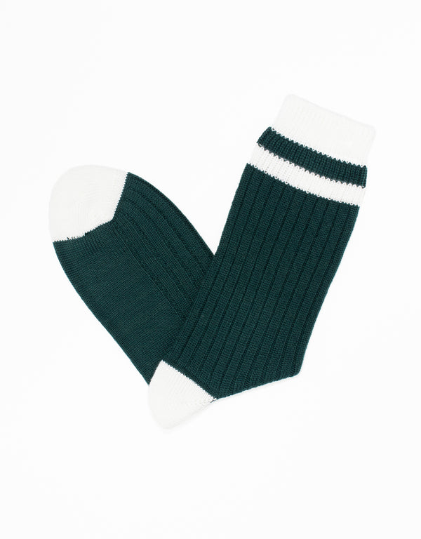 UNIVERSITY HEEL AND TOE STRIPE SOCKS - GREEN/WHITE