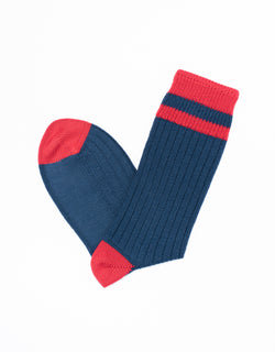 UNIVERSITY HEEL AND TOE STRIPE SOCKS - NAVY/BURGUNDY