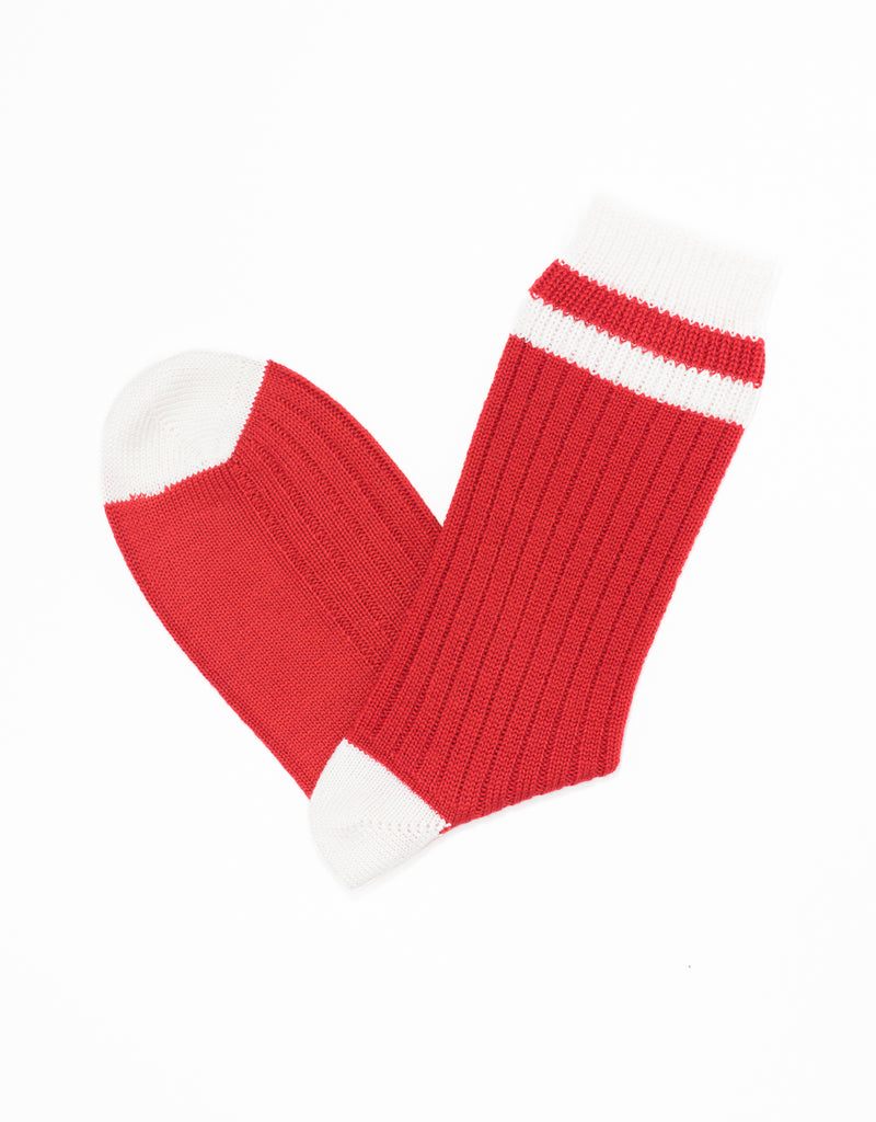 UNIVERSITY HEEL AND TOE STRIPE SOCKS - RED/WHITE