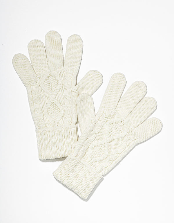 CASHMERE ARAN KNIT GLOVES - ECRU