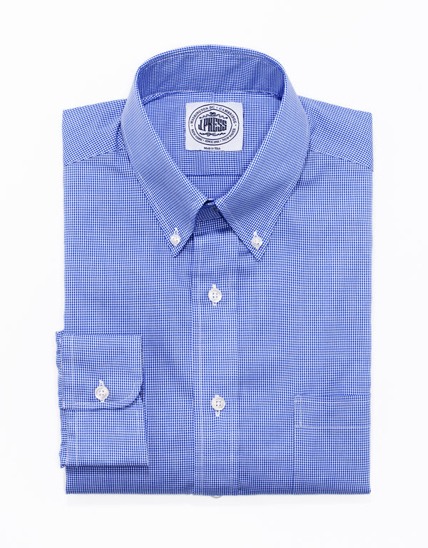 BLUE MINI CHECK BUTTON DOWN SHIRT