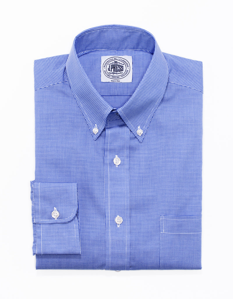 BLUE MINI CHECK BROADCLOTH DRESS SHIRT