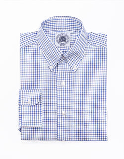 NAVY ROYAL TATTERSALL BROADCLOTH DRESS SHIRT
