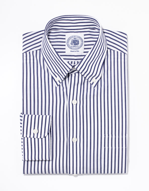 NAVY/WHITE BUTCHER STRIPE BROADCLOTH DRESS SHIRT