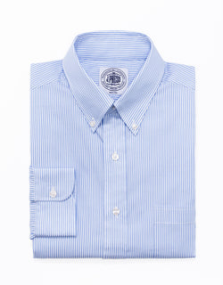 LIGHT BLUE BENGAL STRIPE BROADCLOTH DRESS SHIRT
