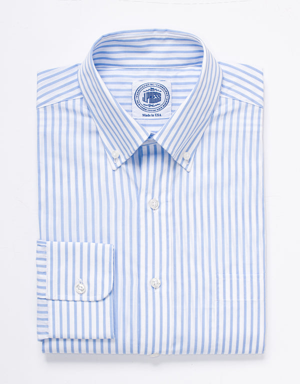 LIGHT BLUE WHITE BUTCHER STRIPE BROADCLOTH DRESS SHIRT