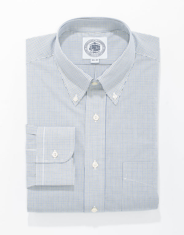 OLIVE/NAVY TATTERSALL BROADCLOTH DRESS SHIRT