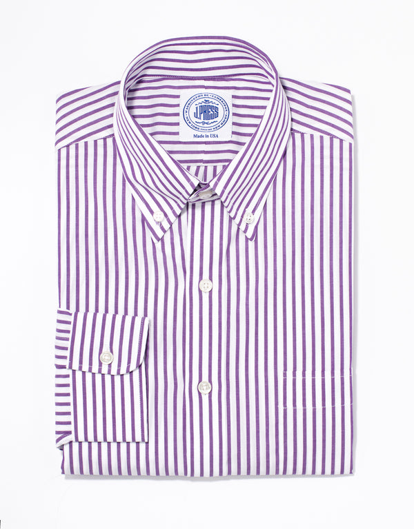 PURPLE/WHITE BUTCHER STRIPE BROADCLOTH DRESS SHIRT
