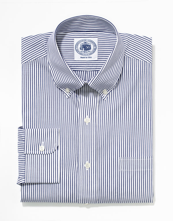 J. PRESS NAVY STRIPE BROADCLOTH DRESS SHIRT