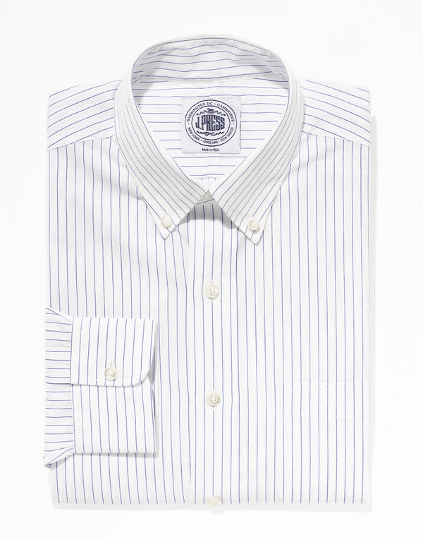 NAVY PINSTRIPE BROADCLOTH DRESS SHIRT