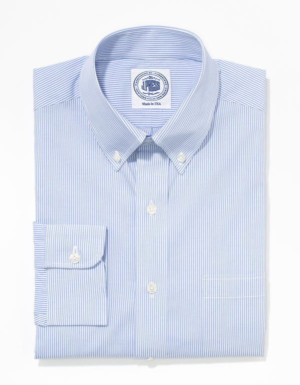 J. PRESS LIGHT BLUE STRIPE BROADCLOTH DRESS SHIRT