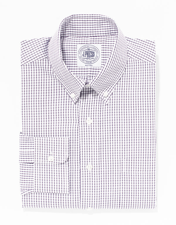 PURPLE TATTERSALL BROADCLOTH DRESS SHIRT