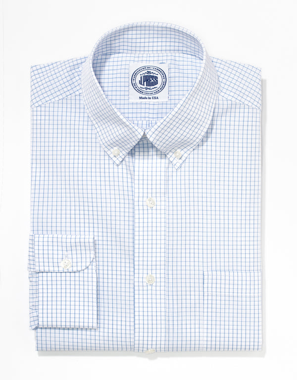 J. PRESS LIGHT BLUE TATTERSALL BROADCLOTH DRESS SHIRT