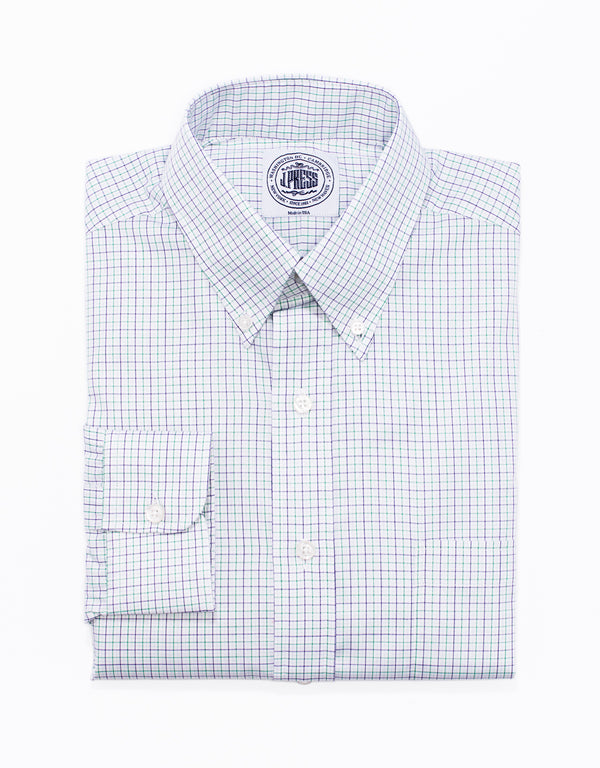 PURPLE GREEN TATTERSALL BROADCLOTH DRESS SHIRT