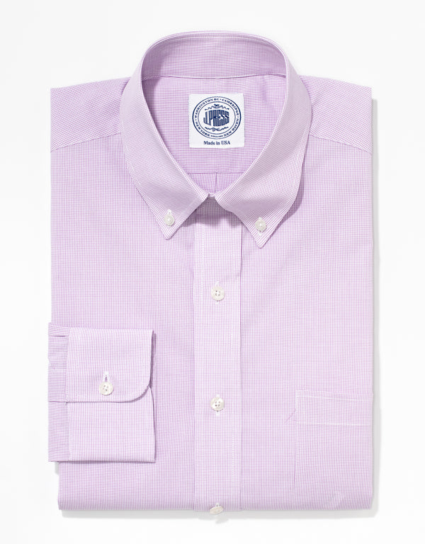 J. PRESS PURPLE MINI GRAPH CHECK BROADCLOTH DRESS SHIRT
