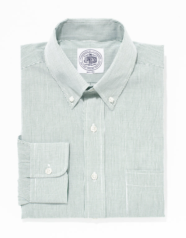 GREEN GRAPH CHECK BROADCLOTH DRESS SHIRT