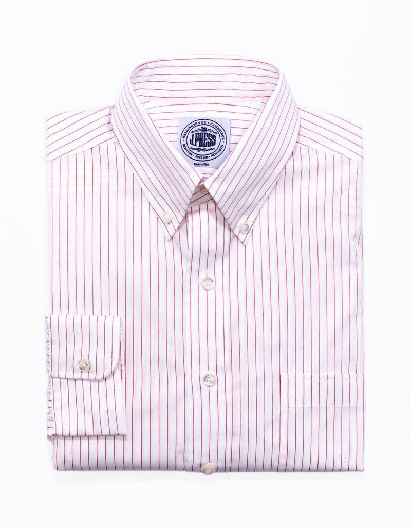 RED PINSTRIPE BROADCLOTH DRESS SHIRT