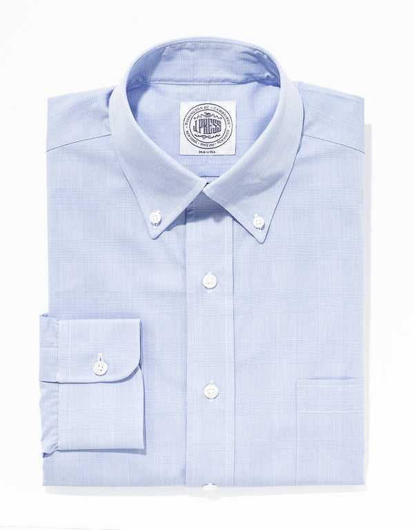 LIGHT BLUE PLAID BROADCLOTH DRESS SHIRT