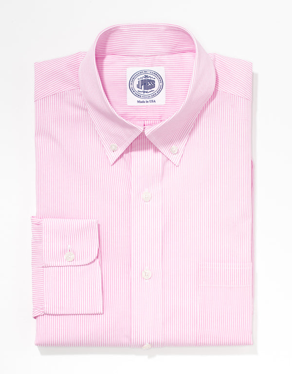J. PRESS PINK STRIPE BROADCLOTH DRESS SHIRT