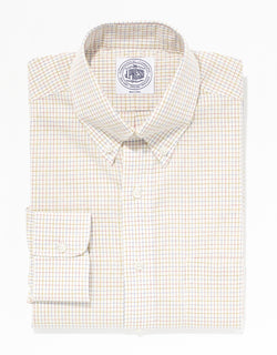 ECRU TATTERSALL BROADCLOTH DRESS SHIRT