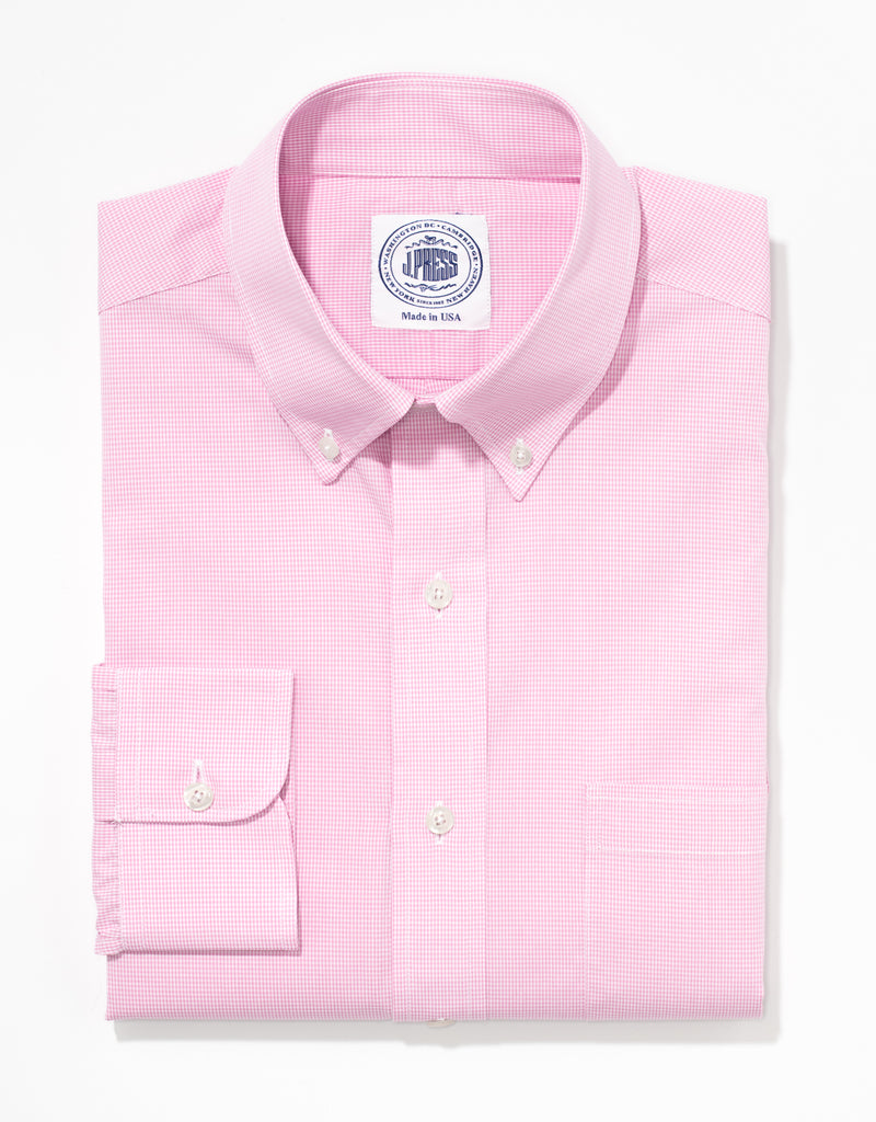 J. PRESS PINK MINI CHECK BROADCLOTH DRESS SHIRT