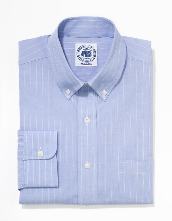 J. PRESS LIGHT BLUE STRIPE END ON END DRESS SHIRT