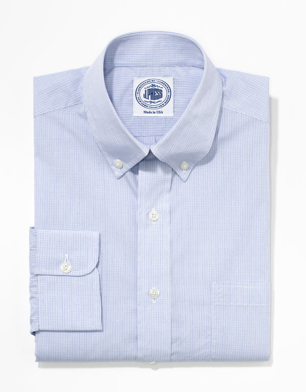 J. PRESS NAVY/BLUE MINI GRAPH CHECK BROADCLOTH DRESS SHIRT