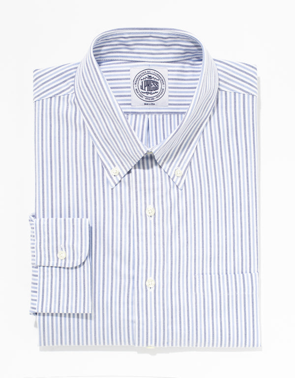NAVY BLUE STRIPE OXFORD DRESS SHIRT