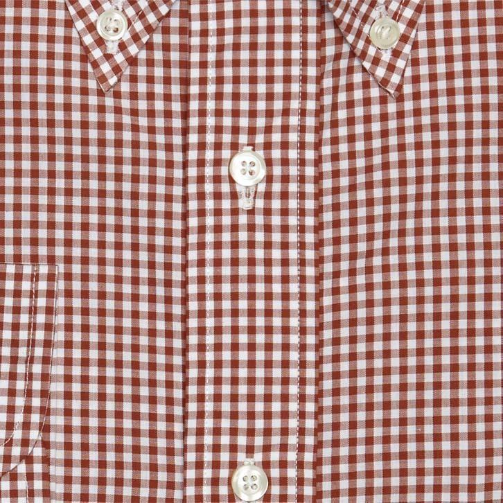 SMALL GINGHAM BUTTON DOWN - RED/BROWN/WHITE
