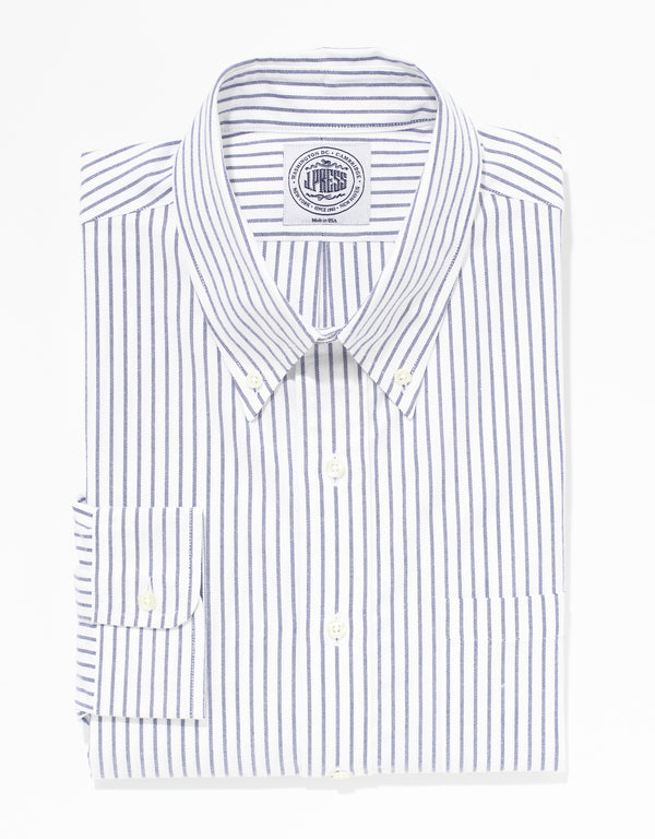 BLUE UNIVERSITY STRIPE OXFORD DRESS SHIRT