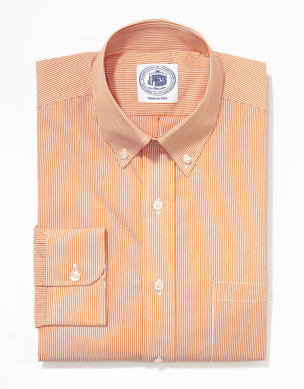 J. PRESS ORANGE SLIM STRIPE BROADCLOTH DRESS SHIRT