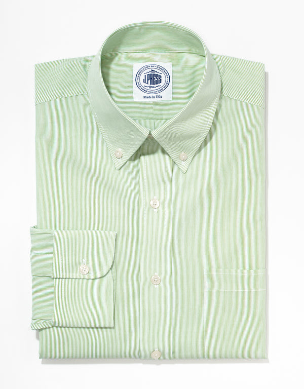 J. PRESS GREEN PENCIL STRIPE BROADCLOTH DRESS SHIRT